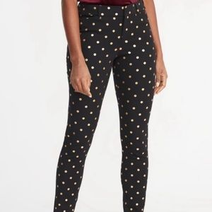 Old Navy Ankle Pixie Pants Black Gold Dots